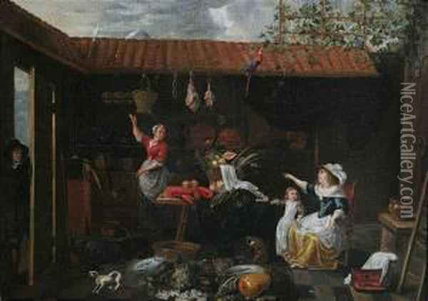 Courtyard Scene With Provisions,  Maidservant And Mistress Oil Painting - Jan Van Buken