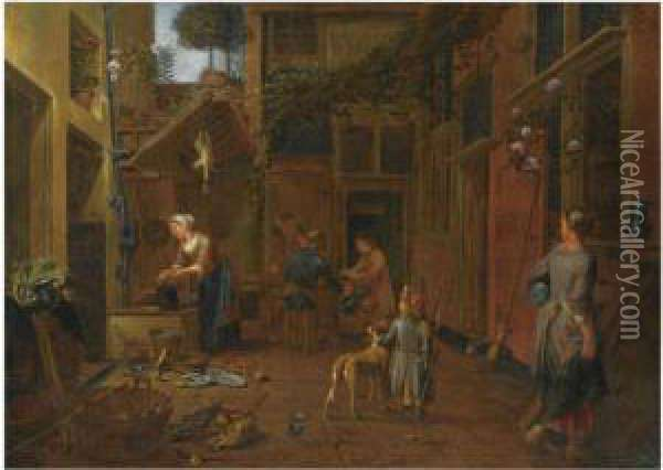 A Courtyard Scene With A Maid Washing Plates, Another Maid Carryingpots, A Young Boy With A Dog, Other Figures In The Background Oil Painting - Jan Van Buken