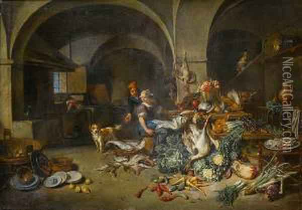 A Couple In A Kitchen Interior With Game,fish, Vegetables, Pottery And A Dog In The Foreground, A Housemaidworking In The Background Oil Painting - Jan Van Buken