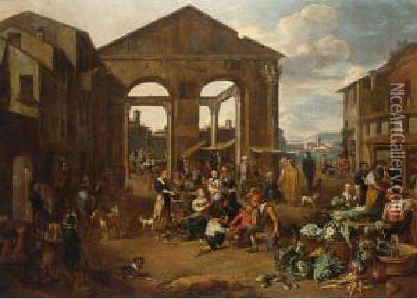 An Italianate Market Scene With Remnants Of A Roman Temple With A Harbour Beyond Oil Painting - Jan Van Buken