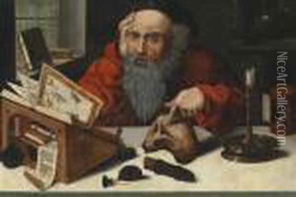 St. Jerome In His Studio Oil Painting - Joos Van Cleve
