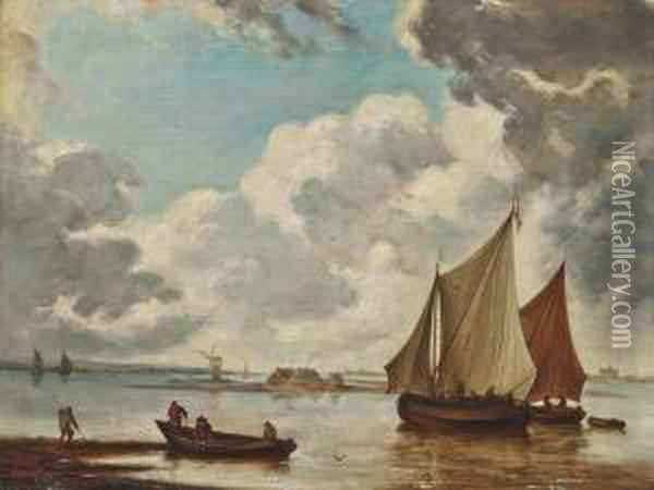 Shipping In Calm Waters With Fishermen Bringing In Their Nets Oil Painting - Jan Van De Capelle