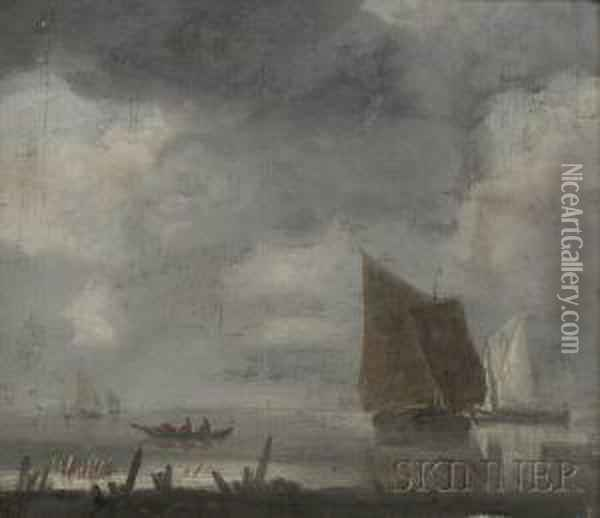 Shore Scene With Sailing Vessels Under Gray Skies Oil Painting - Jan Van De Capelle