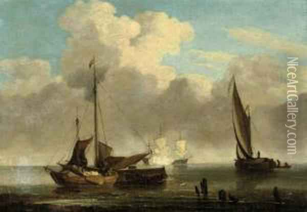 Dutch Fishermen Setting Sail Oil Painting - Jan Van De Capelle