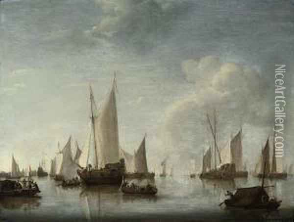 An Official Party Boarding A States Yacht At Anchor In A Harbour,with Another States Yacht And Other Vessels And A Port Citybeyond Oil Painting - Jan Van De Capelle