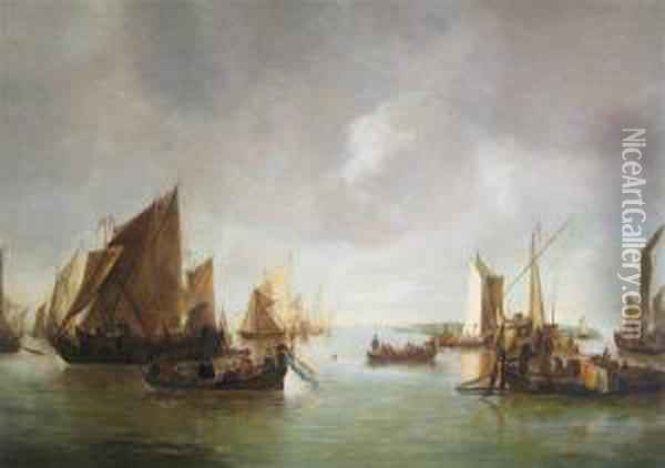 A Busy Estuary With Numerous Vessels And An Elegant Company In A Lighter Oil Painting - Jan Van De Capelle