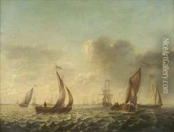 Off The Dutch Coast, With Men O'war, Fishing Boats And Sailing Barges In Calm Waters Oil Painting - Jan Van De Capelle