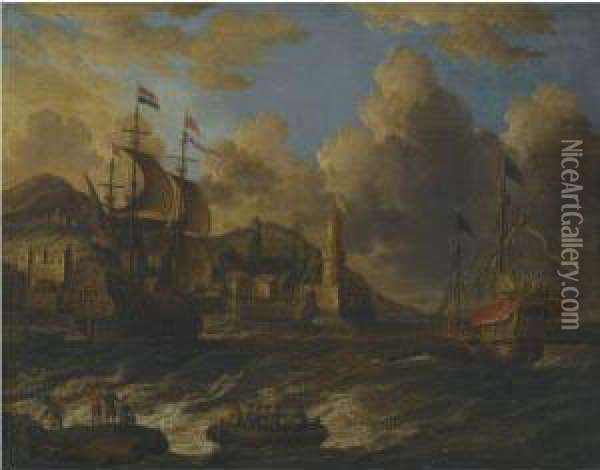 Dutch Ships At Sea Off The Coast Of A Fortified Town Oil Painting - Willem van de, the Elder Velde