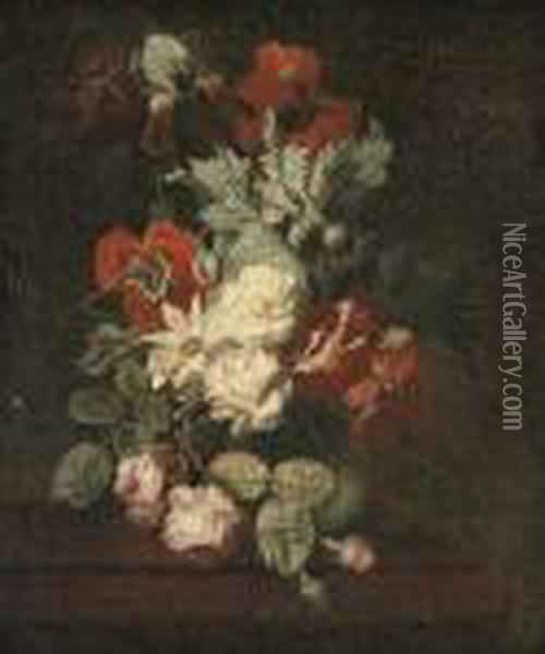 Roses, Poppies, An Iris And Other Flowers In A Vase On A Ledge Oil Painting - Carl Wilhelm de Hamilton
