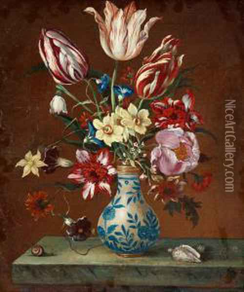 Still Life With Tulips, Narcissus And Peonies Onthe Stone Slab Oil Painting - Balthasar Van Der Ast
