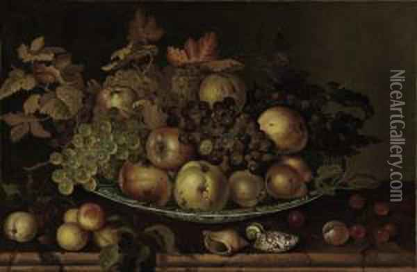 Fruit In A Wan-li Kraak With Shells And Other Fruit On Atable Oil Painting - Balthasar Van Der Ast