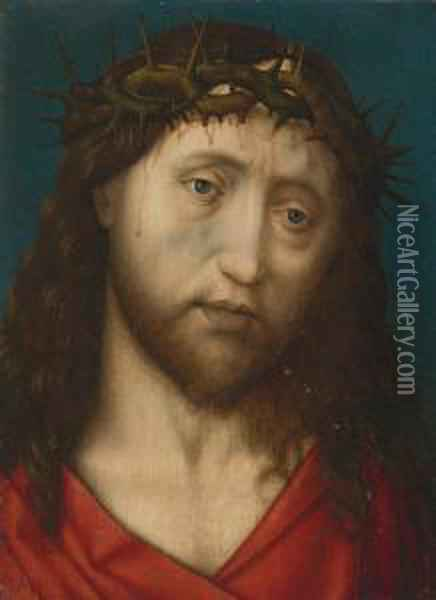 Christ Crowned With Thorns Oil Painting - Follower of Hugo van der Goes