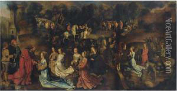 The Story Of David And Abigail Oil Painting - Follower of Hugo van der Goes