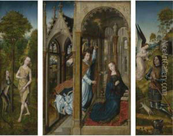 A Triptych:  Central Panel: The Annunciation  Left Inner Wing: Temptation Of Eve In The Garden  Left Outer Wing: Saint James The Greater  Right Inner Wing: An Angel Appearing To A Donor Figure  Right Outer Wing: Saint Thomas Aquinas Oil Painting - Follower of Hugo van der Goes