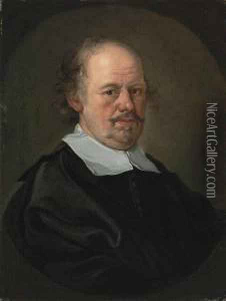 Portrait Of A Gentleman, Bust-length, In A Black Doublet And Mantle, And A Clerical Collar, Feigned Oval Oil Painting - Bartholomeus Van Der Helst