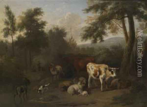 A Wooded Landscape With Resting Cattle And Herders Oil Painting - Jan Vermeer Van Delft