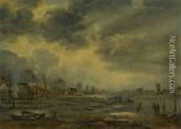 A Winter Landscape With Figures Playing Kolf On A Frozen River, A Village To The Left Oil Painting - Aert van der Neer