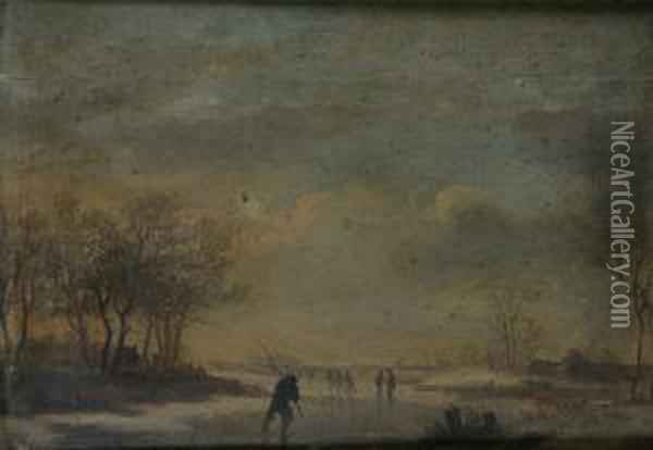 Figures Skating On A Frozen Lake; Travellers And Shepherd With Flock In A Pastoral Landscape Oil On Panel, A Pair, 21 X 29cm Each Oil Painting - Johannes Van Der Neer