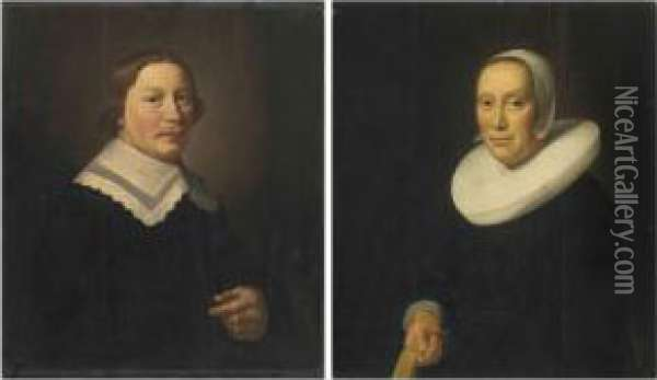 Portrait Of A Gentleman, Half-length, In Black With A White Collar;and Portrait Of A Lady, Half-length, In Black With A White Collarand Bonnet Oil Painting - Hendrick Van Vliet