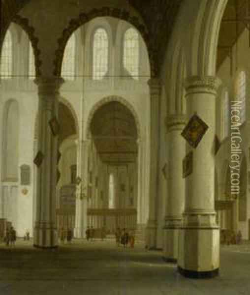An Old Church In Delft,  From The North Wing Towards The East. Oil Painting - Hendrick Van Vliet