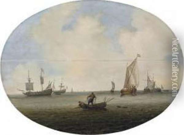 Shipping In A Calm Sea, With Fishermen Drawing In Their Nets, And Dutch Frigates And Other Vessels Beyond Oil Painting - Willem van Diest