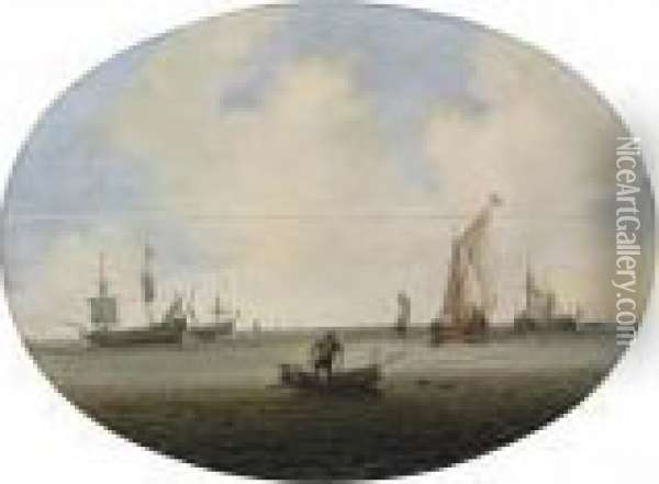 Shipping In A Calm Sea Oil Painting - Willem van Diest