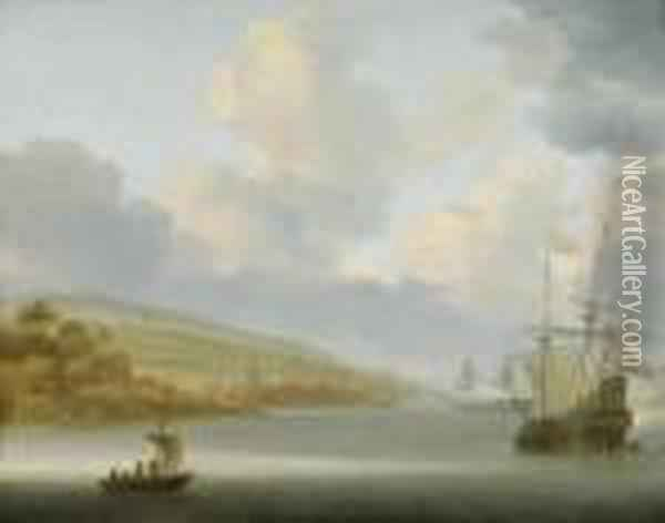 Ships At Anchor Before A Coastallandscape Oil Painting - Willem van Diest