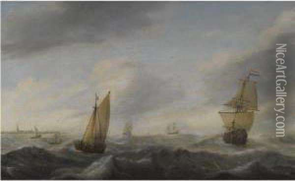 A Coastal Landscape With Dutch Shipping In A Stiff Breeze Oil Painting - Willem van Diest