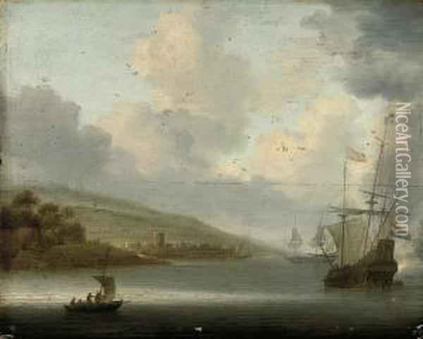 Anchored Ships By A Coast Oil Painting - Willem van Diest