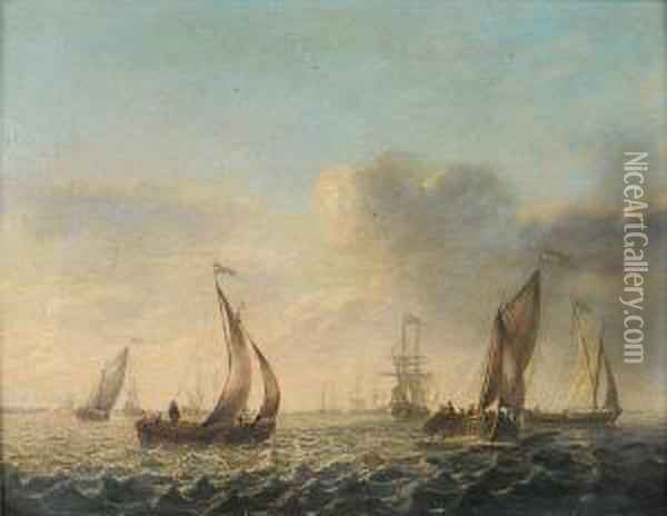Dutch Shipping In Choppy Seas Oil Painting - Willem van Diest