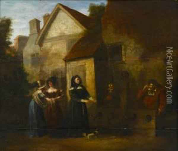 Village Scene With Prisoners In Stockade And Onlookers Oil Painting - Barend Gael or Gaal