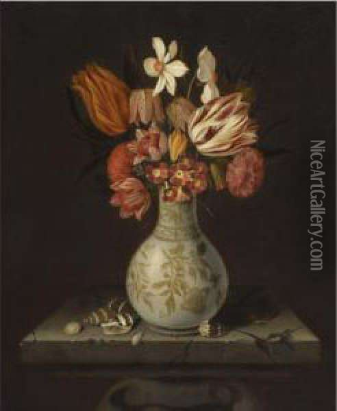 Still Life With Tulips, Crocuses, Primroses And Other Flowers In A Vase On A Stone Plinth With Shells Oil Painting - Jan Baptist van Fornenburgh