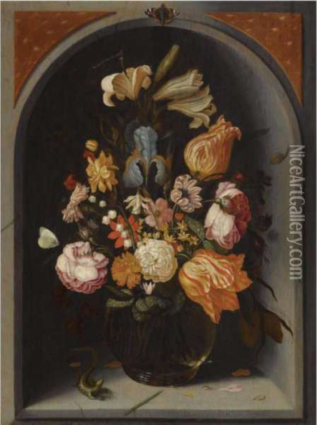 A Still Life Of Tulips, Lilies, Moss Roses, An Iris And Other Flowers In A Glass Vase In A Marble Niche, With Butterflies And A Lizard Oil Painting - Jan Baptist van Fornenburgh