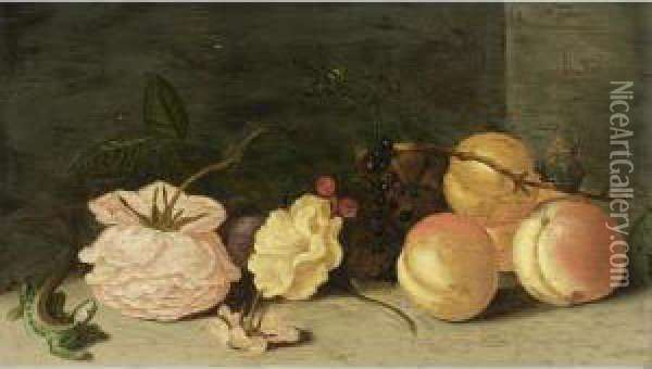 A Still Life With Peaches, Roses, Red And Black Berries, A Butterfly, A Dragonfly And A Green Lizard Oil Painting - Jan Baptist van Fornenburgh