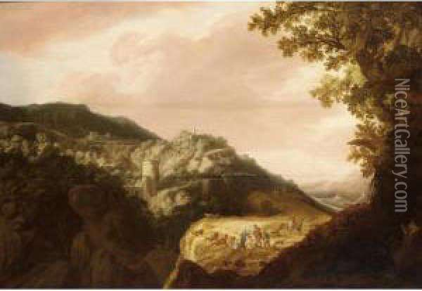 An Extensive Italianate Hilly Landscape With Shepherds Resting With Their Herd On A Path, A View Of A Town Beyond Oil Painting - Pieter Anthonisz. van Groenewegen