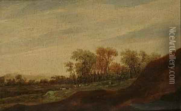 A Panoramic Landscape With Animals Grazing Before A Forest Oil Painting - Pieter Anthonisz. van Groenewegen
