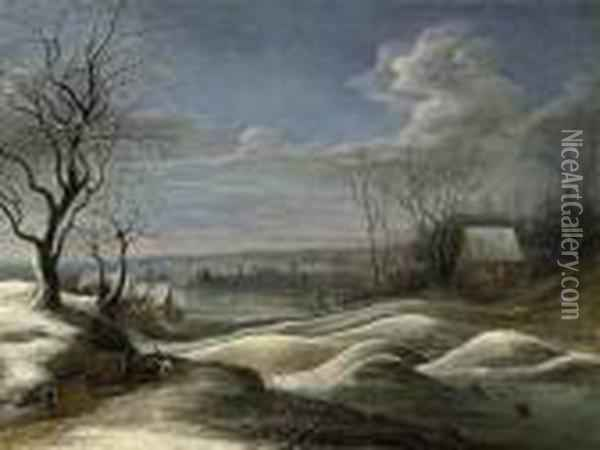 A Winter Landscape With Travellers On A Path And Figures Skating On A Frozen Lake Beyond Oil Painting - Daniel van Heil