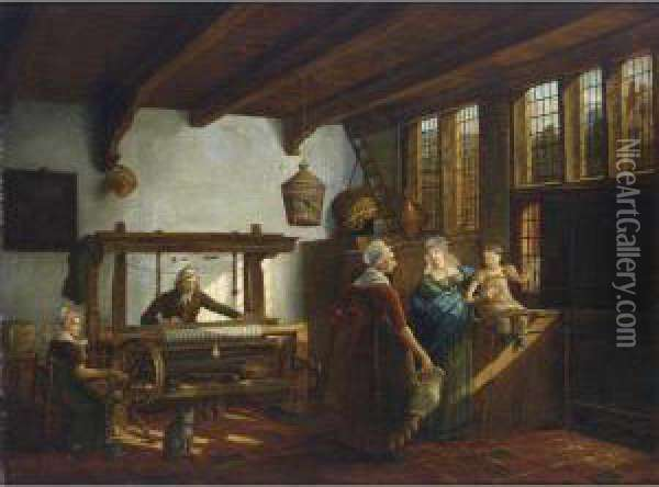 A Weaver's Workshop With A Weaver And His Maid, Together With Two Women And A Child Conversing On The Right Oil Painting - Johanus Petrus Van Horstok