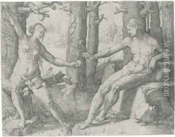 The Fall Of Man Oil Painting - Lucas Van Leyden