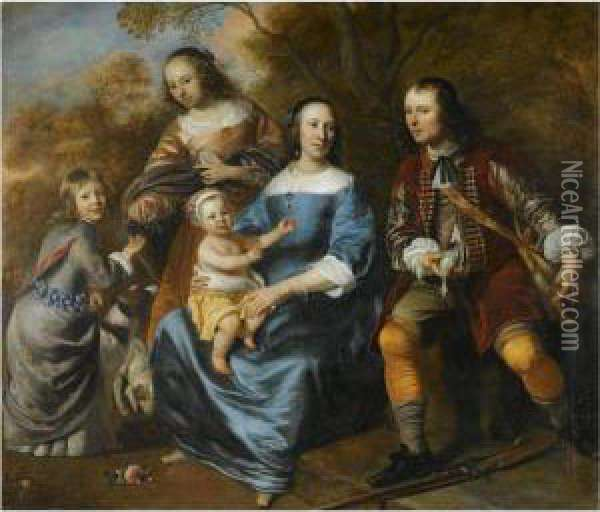 Portrait Of A Family Oil Painting - Jacob van Loo