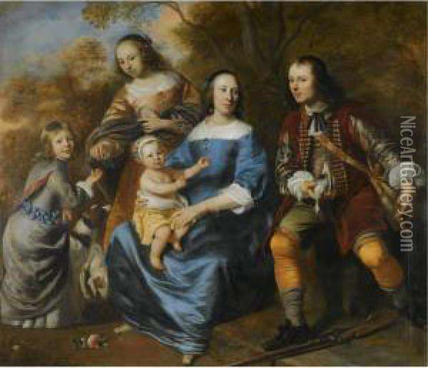 Portrait Of A Family; All Full Length, A Mother Sitting, Dressed Inblue, With Three Young Children And A Young Man With A Gun,possibly Her Husband, In A Landscape Oil Painting - Jacob van Loo