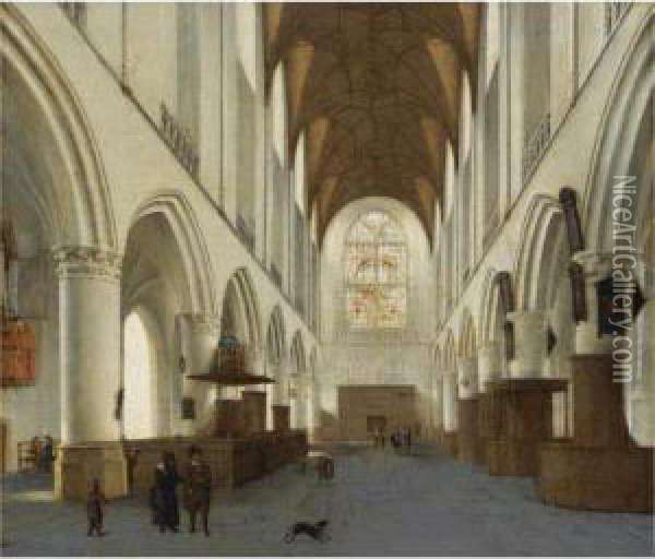 The Interior Of The Church Of Saint Bavo, Haarlem Oil Painting - Hendrick Van Vliet
