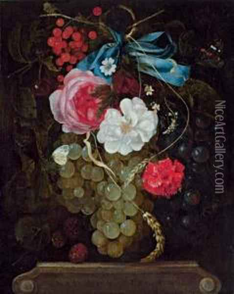 A Carnation, Roses, Grapes, Redcurrants And Berries Hanging From A Blue Ribbon, With Butterflies, Above An Entablature Oil Painting - Maria van Oosterwyck
