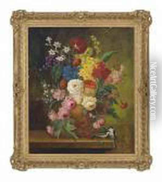 Roses, Carnations, Narcissi And Other Flowers In An Earthenware Vase, On A Ledge With Birds Oil Painting - Jan van Os