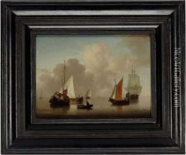 Shipping In A Calm Oil Painting - Jan van Os
