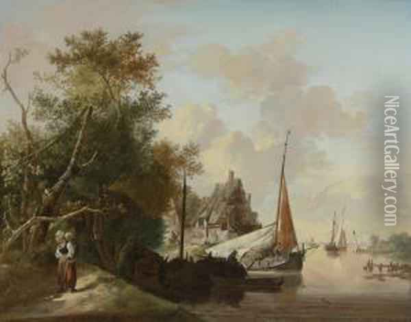 Peasants Unloading Cargo; Mother And Child By A River Oil Painting - Jan van Os