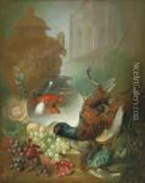 Grapes, Pomegranates, Game, Fish, Goldfish In A Bowl, A Classical Urn Oil Painting - Jan van Os