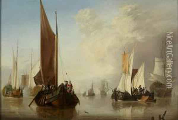 Calm Seas With Fishing Boats And Man-o-war Oil Painting - Jan van Os