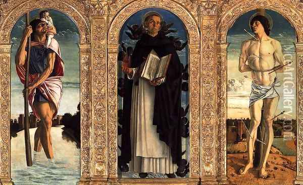 Polyptych of San Vincenzo Ferreri (detail) 2 Oil Painting - Giovanni Bellini