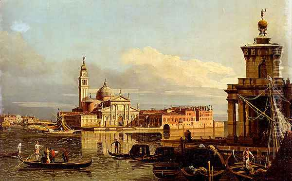 A View In Venice From The Punta Della Dogana Towards San Giorgio Maggiore Oil Painting - Bernardo Bellotto